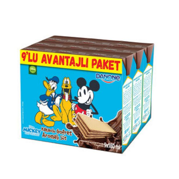 18,71 TL fiyatına Danone Disney Kakaolu Gofret Aromalı Süt 9X180 Ml