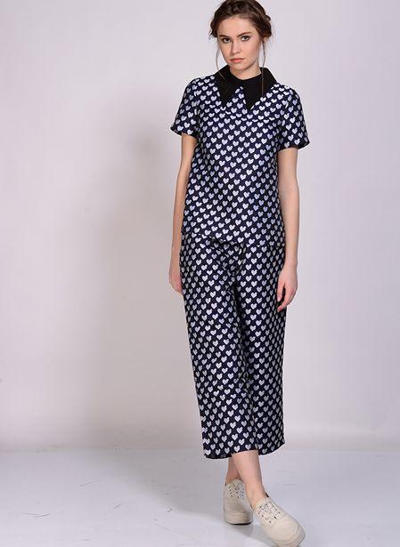 249,99 TL fiyatına Dahlia Kalp Desenli Lacivert Kadın Pantolon