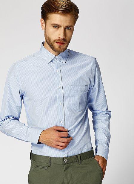 69,99 TL fiyatına Cotton Bar Erkek Slim Fit Mavi Gömlek