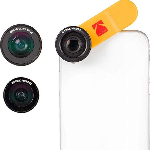 489 TL fiyatına Kodak Akıllı Telefonlar için 3'lü Lens Seti Ultra Geniş Açı Makro ve Balıkgözü