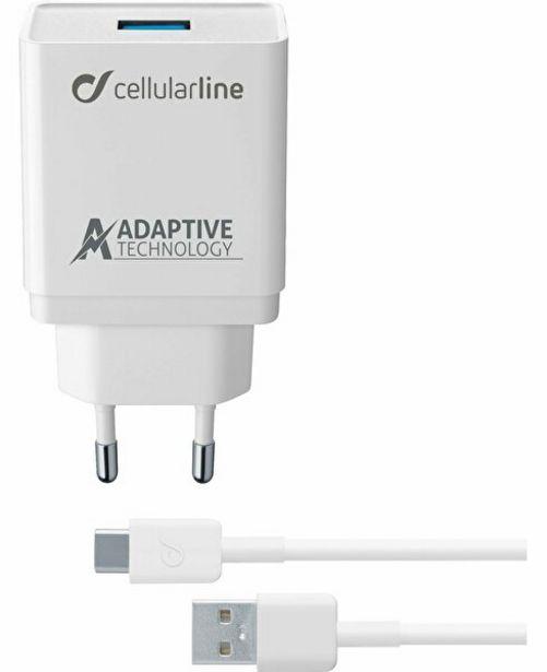 159 TL fiyatına Cellularline Beyaz Type-C Seyahat Şarjı 15W(Kablo+Adaptör)
