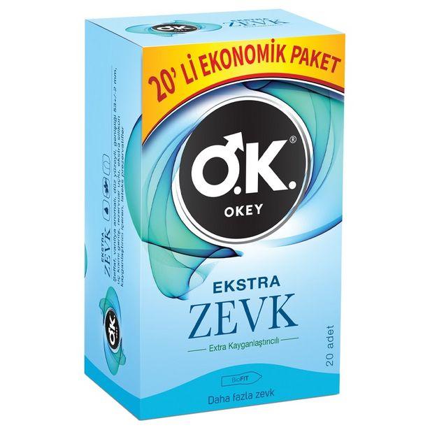37 TL fiyatına Okey Ekstra Zevk Prezervatif 20'li