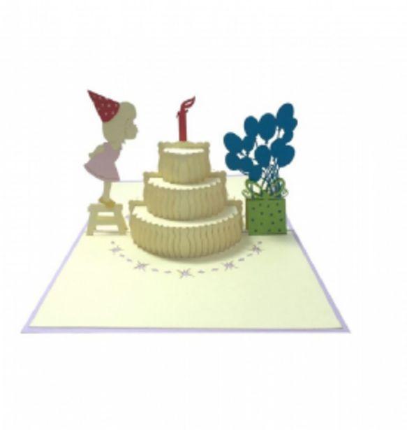 6,99 TL fiyatına Esseniro 3D Kart Kız Çocuk ve Pasta