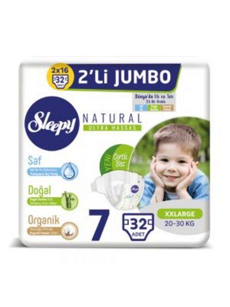 64,95 TL fiyatına Sleepy Natural Bebek Bezi 7 Numara XXL Jumbo 32'li
