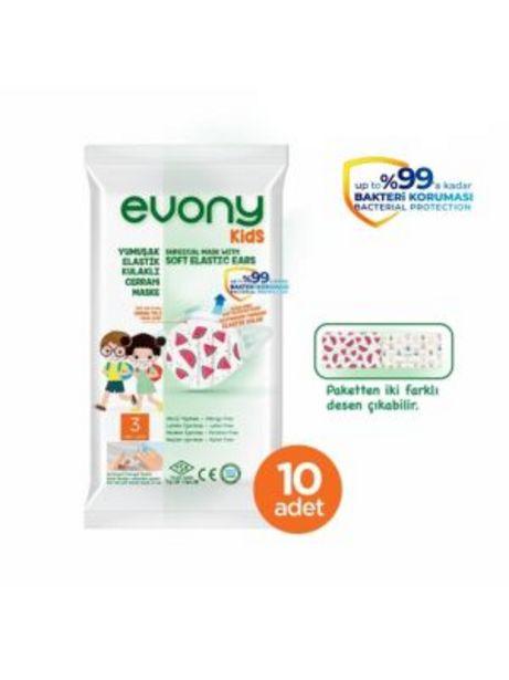 7,95 TL fiyatına Evony Kids Çocuk Maskesi 3 Katlı Cerrahi 10'lu