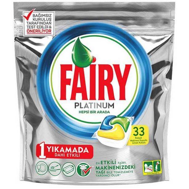 42,9 TL fiyatına Fairy Platinum Bulaşık Makinesi Deterjanı Kapsülü 33 Yıkama Limon Kokulu