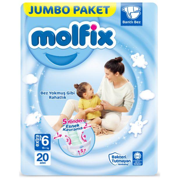 36,9 TL fiyatına Molfix 3D Bebek Bezi 20 Adet Jumbo Extra Large