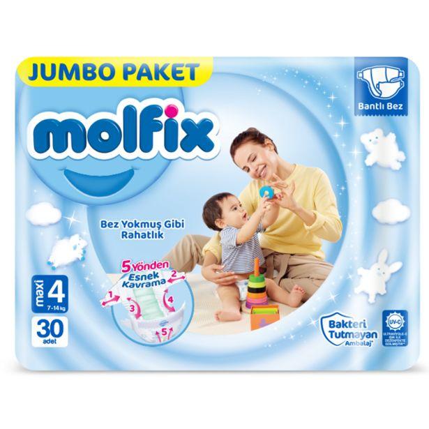 36,9 TL fiyatına Molfix 3D Jumbo Maxi Bebek Bezi 30 Lu 7-14 Kg