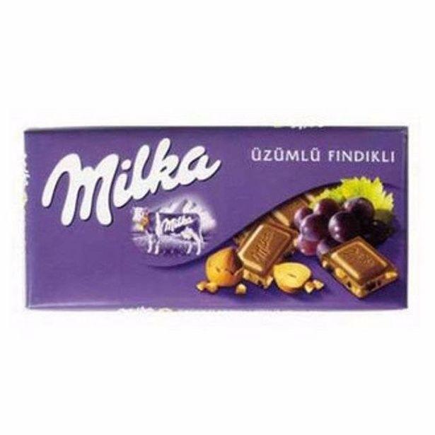 10,95 TL fiyatına Milka Tablet Uzumlu Findikli  80 Gr