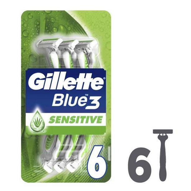48,23 TL fiyatına Gillette Blue3 Sensitive Kullan At Tıraş Bıçağı 6'lı